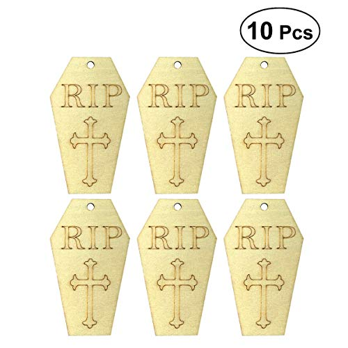 LUOEM 10pcs Wooden Halloween Tombstone Pendant Small Hangings Pendants Props for DIY Party Decor -