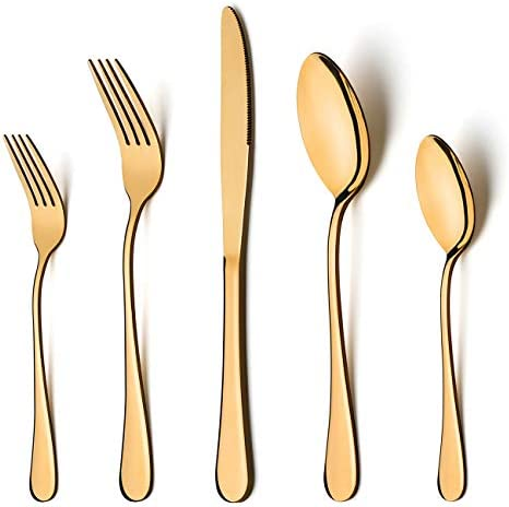 Gold Silverware Set, LIANYU 20 Piece Stainless Steel Flatware Cutlery Set for 4, Gold Mirror Finish, Ideal for Home Wedding Festival Party, Dishwasher Safe