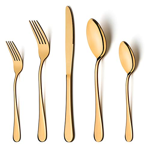 Gold Silverware Set, LIANYU 20-Piece Stainless Steel Flatware Cutlery Set for 4, Gold Mirror Finish, Ideal for Home Wedding Festival Party, Dishwasher Safe (Dinner Piece Gold 4)