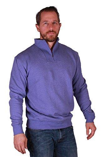 (Kirkland Signature Men's Cotton 1/4 Zip Pullover (Medium, Lt Blue))
