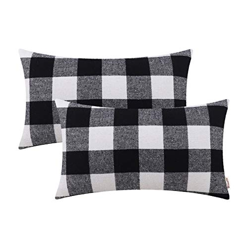 Brawarm Comfy Bolster Pillow Covers Cases for Couch Bed Sofa Buffalo Checks Tartan Plaids Fluffy Textured Cozy Lumbar Cushion Covers for Home Decorative 12 X 20 Inches Black & White ()