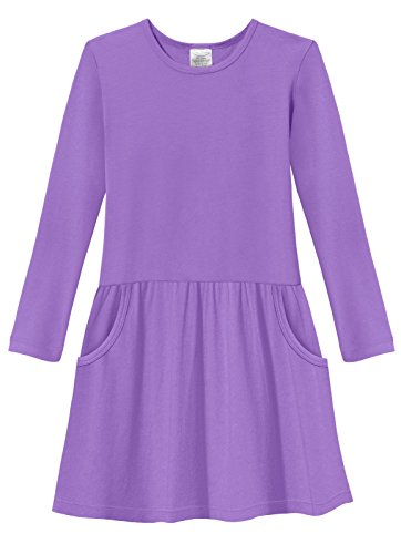 City Threads Little Girls' Drop Waist French Party Dress in All Cotton - Sensitive Skin and Sensory Friendly SPD - School Fall Parties Cute, Deep Purple, 5