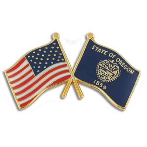 (PinMart Oregon and USA Crossed Friendship Flag Enamel Lapel Pin)