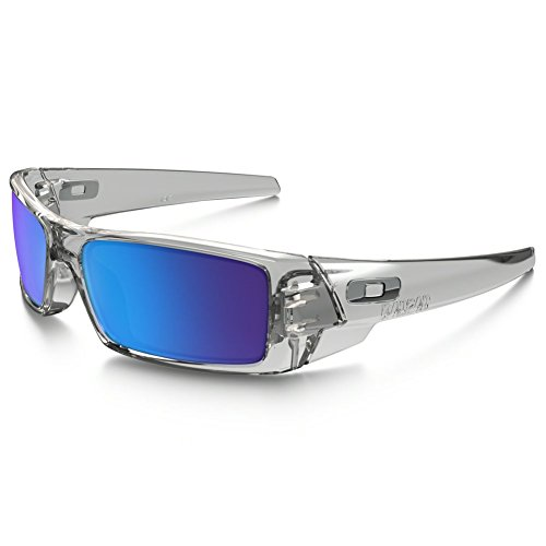 Oakley Men's Gascan Rectangular Sunglasses Polished Clear/Sapphire Iridium, 60 - Sunglasses Oakly