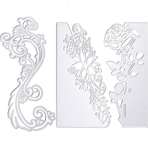 (3 Pieces Metal Flower Cutting Die Craft Die Cuts Embossing Stencil Templates Cutting Die for Scrapbooking Card Making DIY Favors (Flower Style))