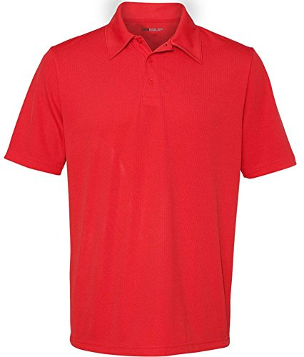 Polo Birdseye Red Performance - DRI-EQUIP Dry-Wicking Performance 3-Button Mesh Polos in 12 colors. Mens XS-4XL