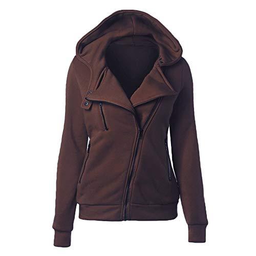 VERYCO Women Zip Up Hoodie Sweatshirt Plain Casual Hooded Long Sleeve Jacket Coat Top Coffee