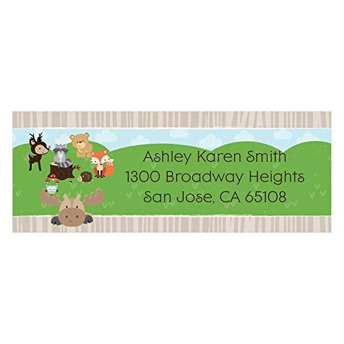 - Custom Woodland Creatures - Personalized Baby Shower or Birthday Party Return Address Labels - Set of 30