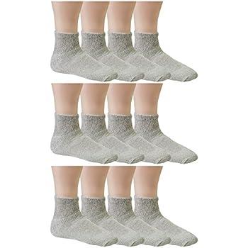 Debra Weitzner Womens Diabetic Socks Loose Cotton Socks 12-pack Ankle Grey