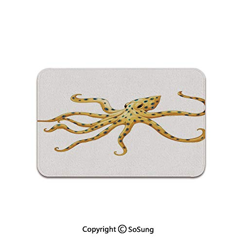 Octopus Decor Area Rug,Blue Ringed Octopus Illustration Deadly Dangerous Creatures of The Sea Marine Wildlife,for Living Room Bedroom Dining Room,4'x 3',Yellow White (Most Dangerous Sea Creatures Of All Time)