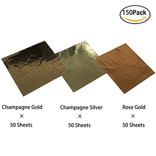 Silver Leaf Painting Picture (Champagne Gold Foil Leaf Paper, Rose Gold Foil Leaf Paper, Champagne Silver Foil Leaf Paper for DIY Arts, Gilding Crafts, Decor, 150 Sheets by CSPRING)