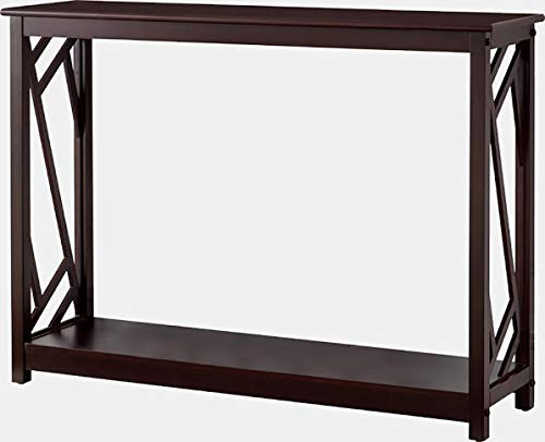 Wood Console Table - Console Table with Open Shelf - Dark Cherry