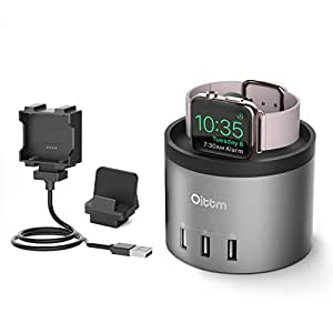Apple Watch Series 2 Charging Stand, Oittm 4-Port USB Charging Dock Station with Phone Holder for iPhone 7, 7 Plus, 6s/6s Plus,iPad,Samsung,Cord Organizer Charging Dock for Apple Watch Series 2, Series 1, Fitbit Blaze (Space Gray)