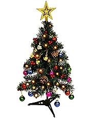 YHNJI Mini kerstboom met led-verlichting, kunstkerstboom met 50 afneembare hanger tafelblad kerstboom voor woondecoratie