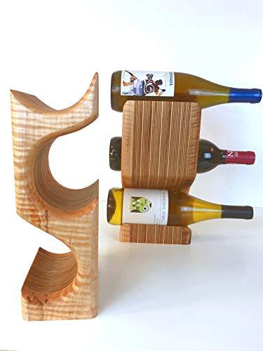 Curly Maple 3 Bottle Wine Rack - Curly Maple Wood Wine Display
