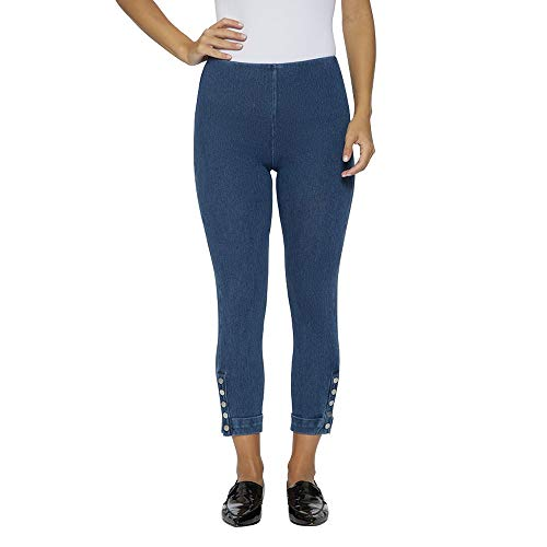 (Lysse Women's Snap Denim Cuff Crop Leggings (Mid)
