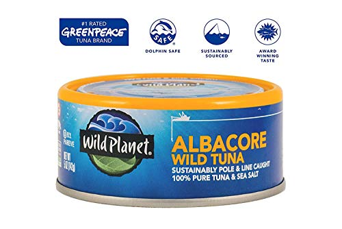 Wild Planet Albacore Wild Tuna, Sea Salt, Keto and Paleo, 3rd Party Mercury Tested, 5 Ounce ,12 Count (Pack of 1) 3