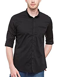 Mens Solid Casual Black Mandarin Collar Long Sleeves Shirt