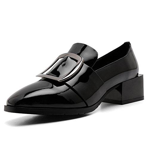 MINIVOG Womens Square Toe Slip-On Fashion Ladies Black Casual Genuine Leather Loafers Shoes 4