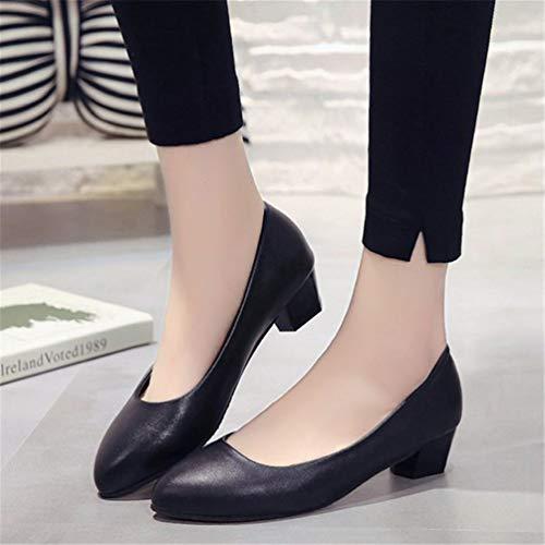 Damen Pumps Quadratische JITIAN Pumpen Schwarz Durchschnittliche High Fersen Heels Büroarbeit Geschlossene Schuhe qTnwxZaHwg