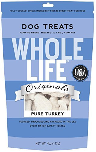 Whole Life Pet Single Ingredient USA Freeze Dried Turkey Treats for Dogs, 4-Ounce