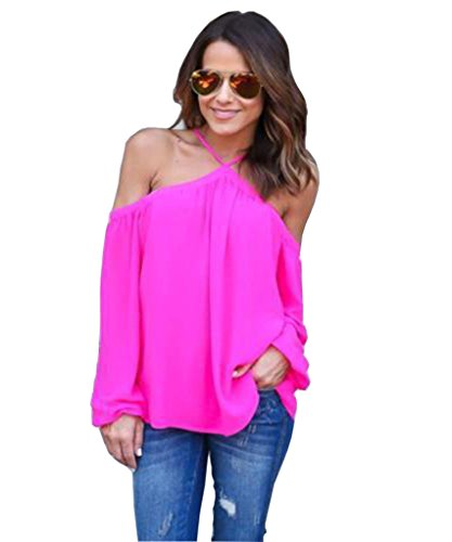 Akery Womens Sexy Spaghetti Strap Off Shoulder Shirt Tops Blouses