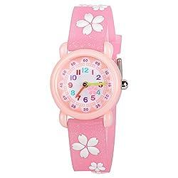 Venhoo Kids Watches 3D Cute Cartoon Waterproof Silicone Children Toddler Wrist Watch Time Teacher Birthday Gift for 3-10 Year Boys Girls Little Child (Pink Sakura)