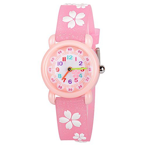 Venhoo Kids Watches 3D Cute Cartoon Waterproof Silicone Children Toddler Wrist Watch Time Teacher Birthday Gift for 3-10 Year Boys Girls Little Child (Pink Sakura)