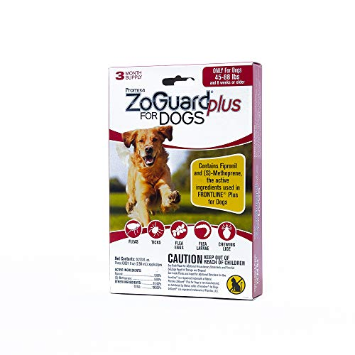 ZoGuard Plus Flea and Tick Prevention for Dogs, Large 45-88 lbs, 6 Months, 6 Doses