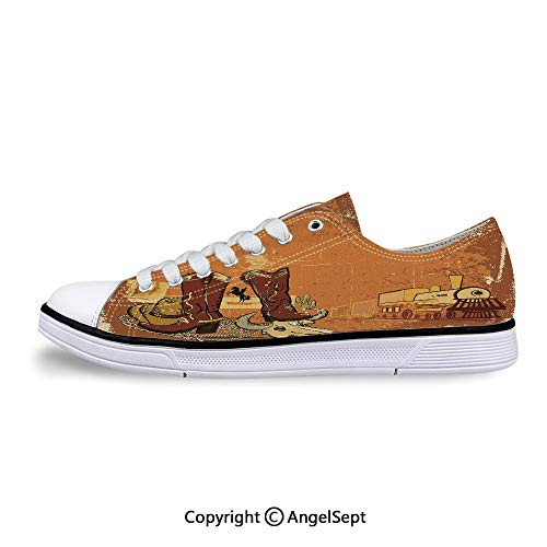 Sneakers for Ladies Locomotive Traditional Boots Animal Skull Low Top Canvas Sh ()