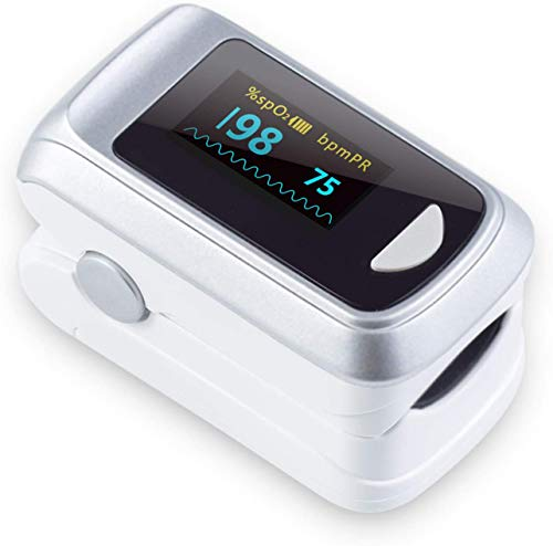 Fingertip Pulse Oximeter Blood Oxygen Saturation Monitor,Heart Rate and Fast Spo2 Reading Oxygen Meter with OLED Screen Batteries and Lanyard