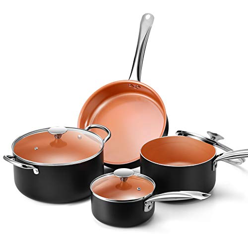 Copper Nonstick Cookware Set – Pans and Pots, All Stove Tops Compatible, Oven-Safe, Multi-Ply, Ceramic Coating, PTFE…