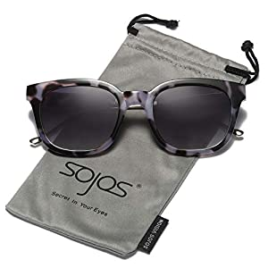SOJOS Vintage Polarized Sunlgasses Womens Mens Square Frame Mirrored Lens SJ2050 SJ2027 SJ2029