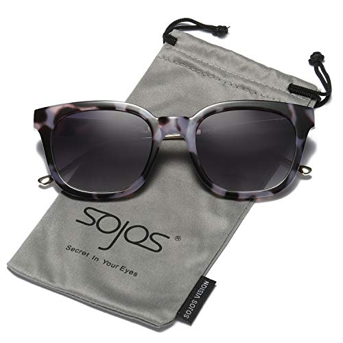 SOJOS Classic Polarized Sunglasses for Women Men Mirrored Lens SJ2050 with Black Marble Frame/Grey Polarized Lens