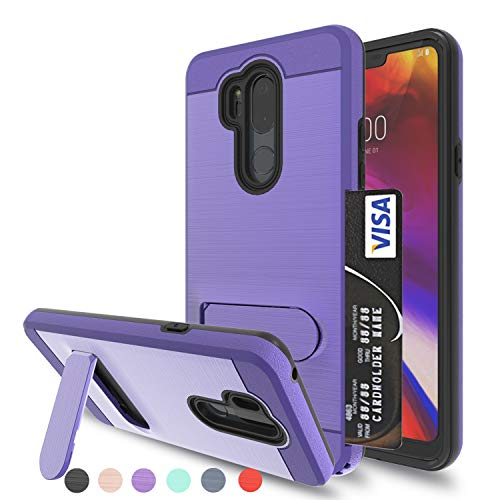 - LG G7 Case,LG G7 ThinQ Case with HD Screen Protector,Ayoo [Metal Brushed Texture] [Card Slot Holder Kickstand] Full Bodystocking Dual Layer Shock-Absorption for LG G7-ZJ Purple