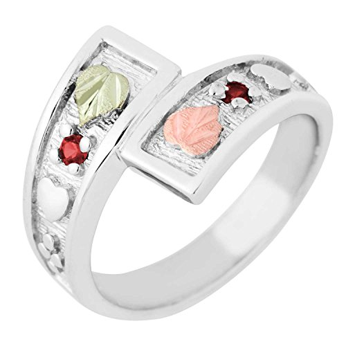 2MM Synthetic Garnet Black Hills Gold Sterling Silver Bypass Ring from Landstroms - Size 10