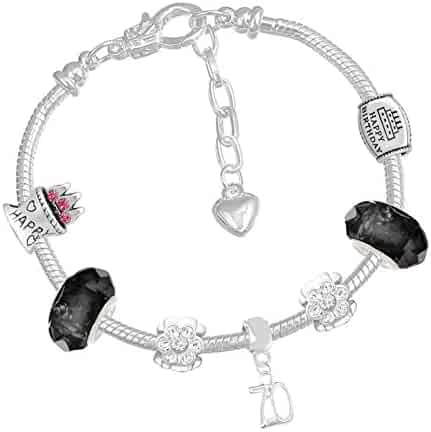 444fff9f6 70th Birthday Good Luck Lucky Black Silver Pandora Style Bracelet with  Charms Gift Box Jewelry