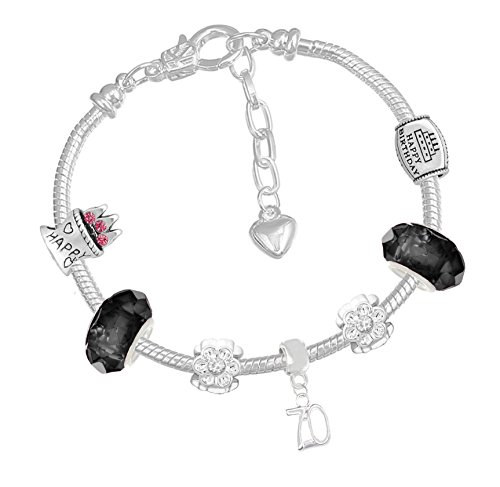 8942b0d495d5f 70th Birthday Good Luck Lucky Black Silver Pandora Style Bracelet With  Charms Gift Box Jewelry