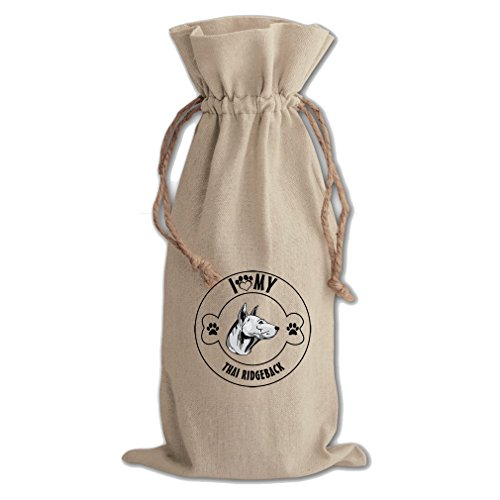 Canvas Wine Drawstring Bag I Love Paw My Thai Ridgeback Dog Style In Print by Style in Print