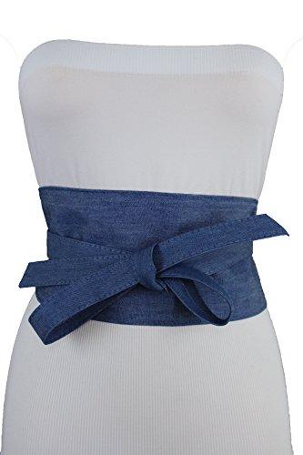 TFJ Women Belt High Waist Denim Blue Wide Wrap Around Kimono Bow Tie S M - Beyonce Kimono