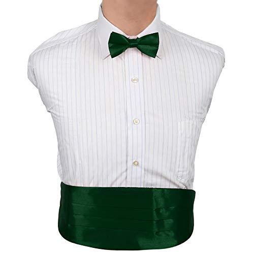 Dan Smith DIC1E01Q Dark Forest Green Plain Microfiber Cummerbund Tie Set For Lawyers Cummerbund Matching Bow Tie ()