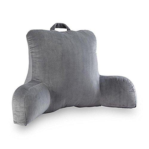 velour gray bedrest reading posture arm pillow soft back support bed rest. Black Bedroom Furniture Sets. Home Design Ideas