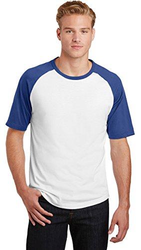 Sport-Tek T201 Short Sleeve Colorblock Raglan Jersey, L, White/ ()