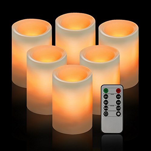 drea Classic Pillar Real Wax Flameless LED Candles 3 X 4 with Timer 10-Key Remote Control Feature Ivory Color - Set of 6