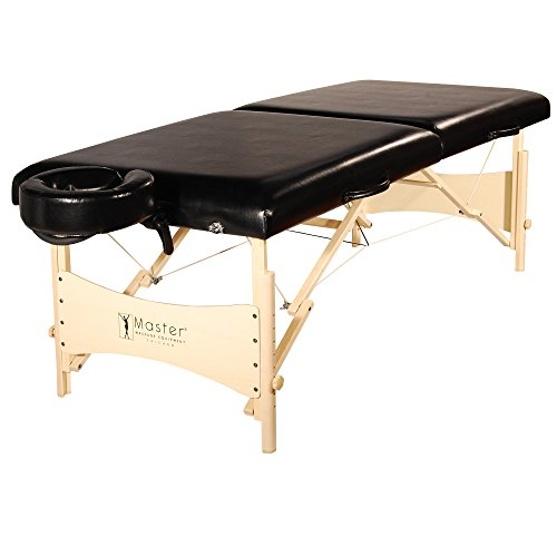 Master Massage Balboa Luster Upholstery Portable Massage Table Package, Black, 30 Inch