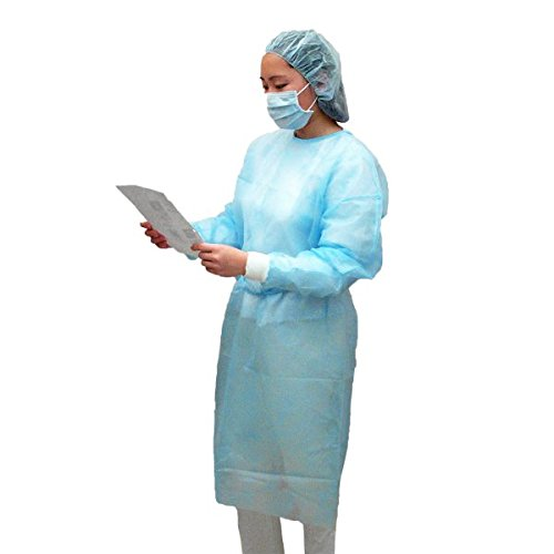 Dental Medical Latex Free Disposable Isolation Gowns Knit Cuff Non Woven | Fluid Resistant (10 Gowns / Pack, White) by Starryshine (Image #2)