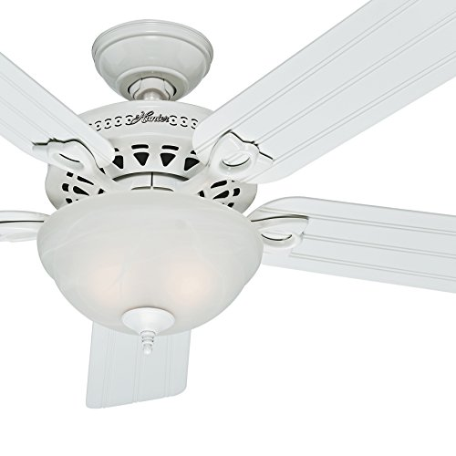 Hunter Fan Outdoor Ceiling Fan in White with a Swirled Marble Light Kit, 5 Blade (Certified Refurbished) - Beadboard Blades