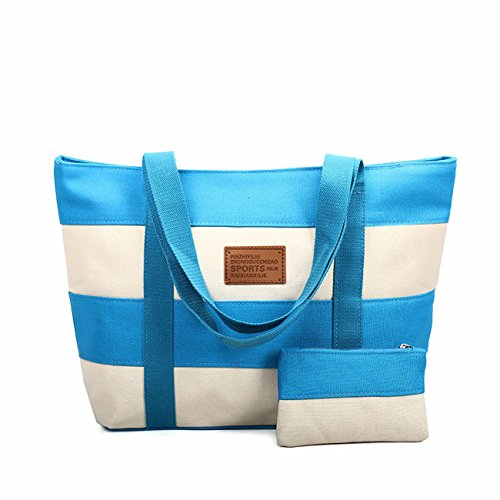 SELECTIA Heavy Duty Durable Cotton Canvas Tote Shoulder Bag Two tone Stripes Contrast Color Washable with zipper closures for work for school grocery gym green grey heavy duty handbag 14 (Sky Blue)