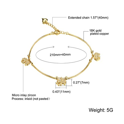 Fashion Aanklets 18K Gold Tone Rhinestone Elephant Beach Foot Chain Aanklet for Women L8.19+1.5'' by LOHOME (Image #4)