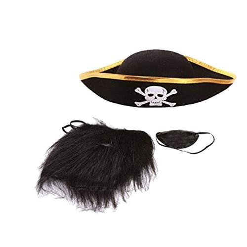 LIKESIDE 3 pcs/1 Set Halloween Pirate Props Hat Cap Moustache Beard Goggles Eye Mask